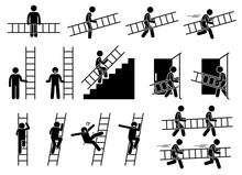 Man With A Ladder. Pictogram S...