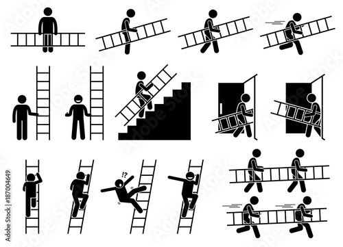 Fototapeta Man with a ladder