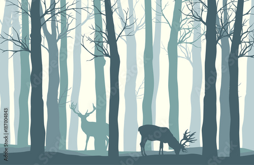 Fotobehang Wit Vector forest landscape with two deer in pastel tones - vintage background