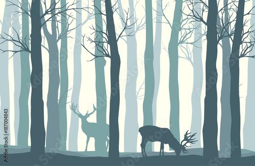 Fotobehang Wit Vector forest landscape with two deer in pastel tones - vintage background