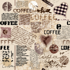 Panel Szklany Podświetlane Vintage Coffee. Abstract coffee pattern on brown background with a lettring. Seamless pattern.