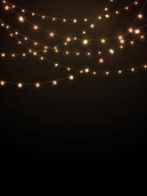 Gold String Lights On Black Ba...