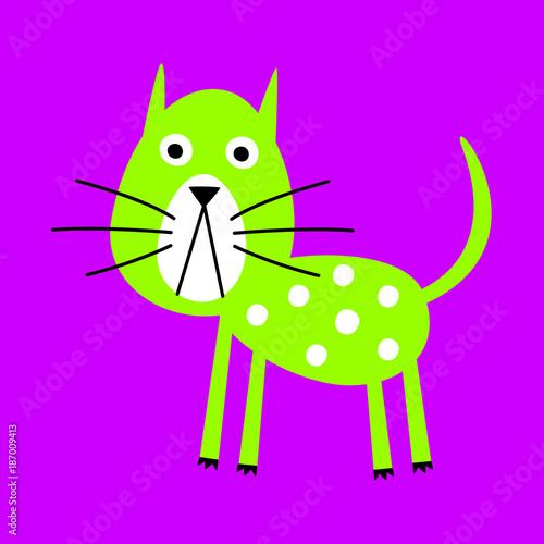 Canvas Prints Fairytale World cute green cat vector