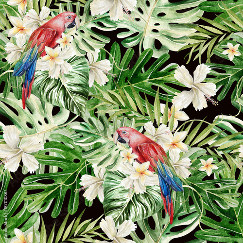 Beautiful watercolor seamless, tropical jungle floral pattern background with palm leaves, flower hibiscus, parrot Fototapet