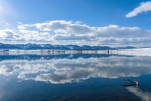 Blue Mountain Lake - Mountain Lake After A Spring Snow Storm. Chatfield Reservoir, Denver-Littleton, Colorado, USA.