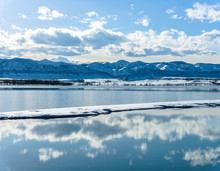 Spring Mountain Lake - Spring View Of A Mountain Lake After A Snow Storm. Chatfield Reservoir, Denver-Littleton, Colorado, USA.