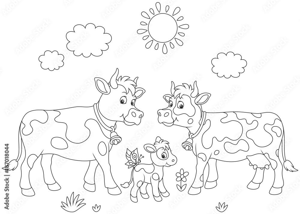 Eine Beschmutzte Kuh Ein Stier Und Ein Kleines Kalb Eine