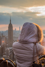 NYC - Young Woman By Sunset On...