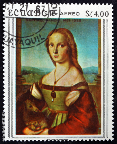 Canvas Prints Imagination Postage stamp Ecuador 1967 Lady with a unicorn, painting by Raph