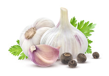 Garlic With Parsley And Spices Isolated On White Background