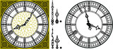 Fototapeta Big Ben - Vector antique old clock with square golden ornament roman baroque style dial numerals and clock hands. Set of antique clock hands. Vector set of tower Big Ben clock gothic style Vintage vector watch