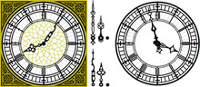 Vector Antique Old Clock With ...
