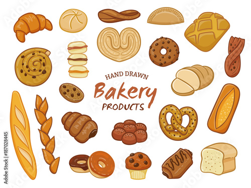 Fotografia Set of various sorts of bread and bakery products