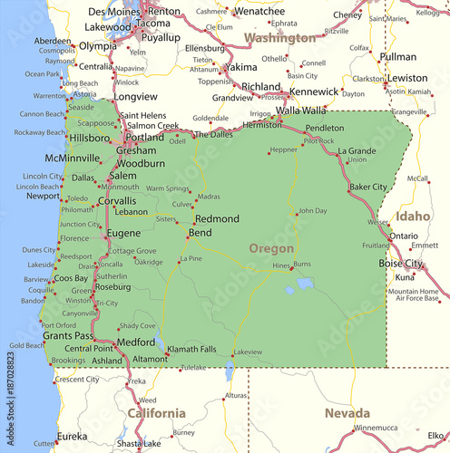 Fototapeta Oregon-US-States-VectorMap-A obraz