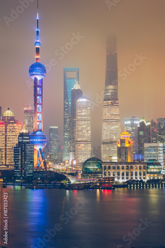 Foto op Canvas Shanghai night view of lujiazui financial district,shanghai,china
