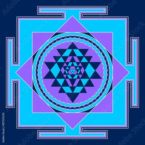 Sacred Indian Geometry Mystical Meditative Diagram Symbol - Vector Shry Yantra Wallpaper Mural