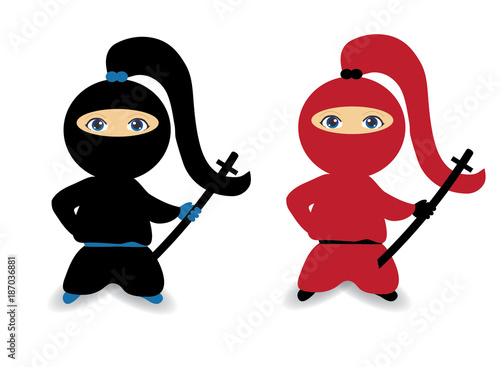 Ninja girl, female ninja, ninja woman Wallpaper Mural