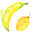 canvas print picture - Exotic banana and lemon healthy food in a watercolor style isolated. Full name of the fruit: banana. Aquarelle wild fruit for background, texture, wrapper pattern or menu.