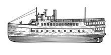Steamer Illustration, Drawing, Engraving, Ink, Line Art, Vector