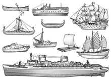 Ship, Boat Illustration, Drawing, Engraving, Ink, Line Art, Vector