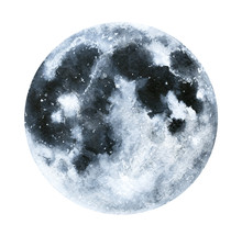 Big Watercolor Moon Illustrati...