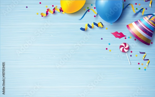 Obraz Carnival background flat lay. Balloons, streamers, candy, confetti on blue wooden background. Vector illustration - fototapety do salonu