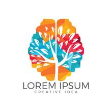 Green Brain Tree Logo Design. Think Green Label.