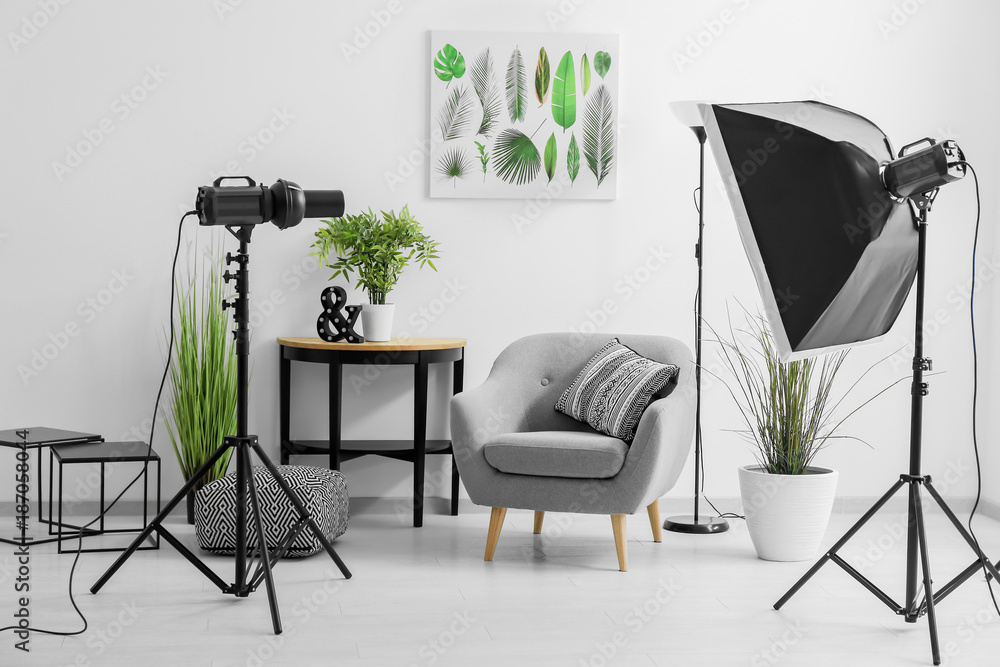 Fototapety, obrazy: Interior of modern photo studio with armchair and professional equipment