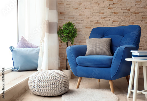 Interior of living room with comfortable armchair Wallpaper Mural