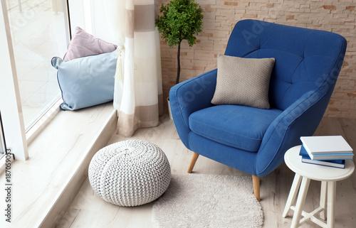 Carta da parati  Interior of living room with comfortable armchair