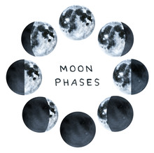 Phases Of The Moon, Water Colo...