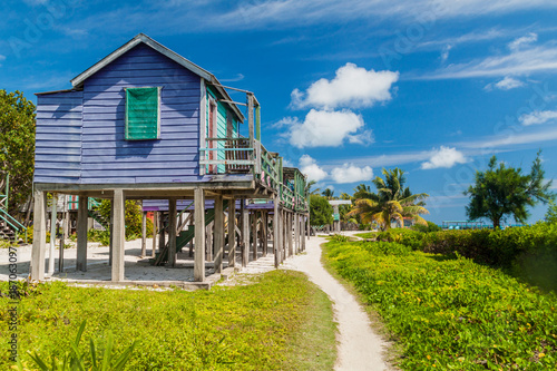 Tablou Canvas Wooden houses on stilts at Caye Caulker island, Belize