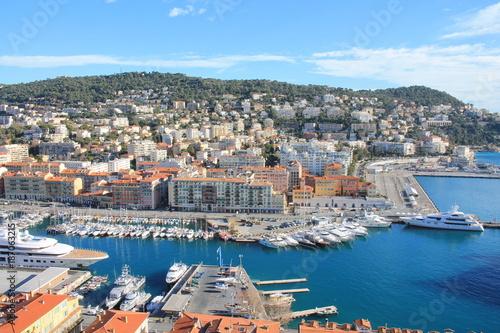 In de dag Schip Vue sur le port de Nice depuis la colline du château, cote d'Azur, France