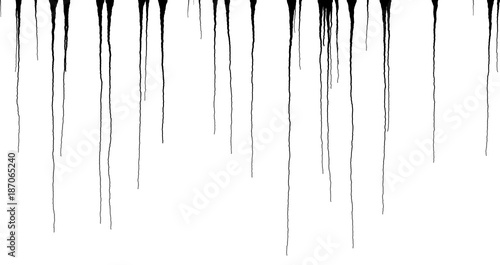 Fotografija Black Ink Dripping Streaks - Vector Grunge Illustration