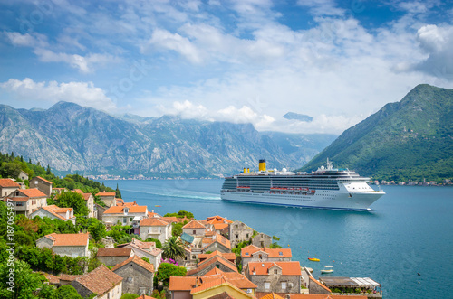 beautiful mediterranean landscape. Mountains near town Perast, Kotor bay (Boka Kotorska), Montenegro.