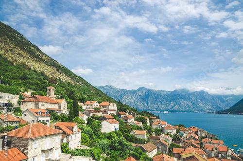 Deurstickers Blauwe hemel beautiful mediterranean landscape. Mountains near town Perast, Kotor bay (Boka Kotorska), Montenegro.