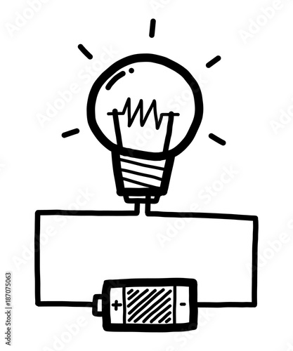 Light Bulb With Battery Cartoon Vector And Illustration Black And