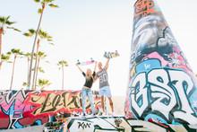 Skater Couple In Venice Beach, California