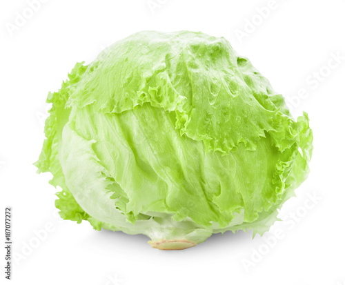 Fototapeta Green Iceberg lettuce on White Background obraz