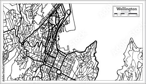 Canvas Print Wellington New Zealand City Map in Black and White Color.