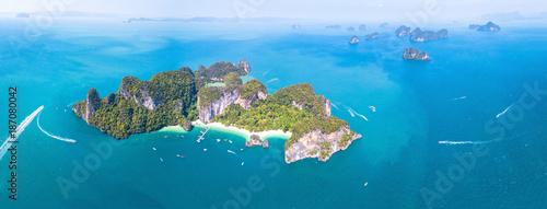 Fotografie, Obraz  Aerial panoramic view of Ko Hong island, Krabi, Thailand, archipelago