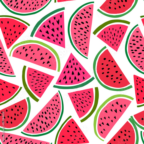 Cotton fabric Watermelon seamless pattern. Vector background with cute watermelon slice. Melon fruit print illustration