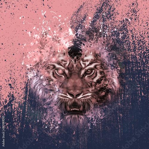 Fotografia, Obraz  абстрактная голова тигра