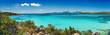 Leinwandbild Motiv Panoramica sul bellissimo mare turchese e cristallino della baia di Petra Ruja - Costa Smeralda - Costa nord est della Sardegna