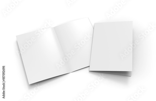 Fotografía  A3 half-fold brochure blank white template for mock up and presentation design