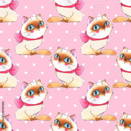 Watercolor cartoon cats, pink seamless pattern 6