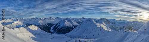 Wall Murals Alps Parsenn mountain swiss alps panorama in winter