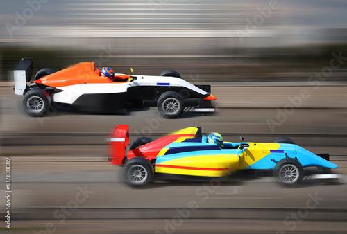 Vászonkép Formula 4.0 race cars racing at high speed