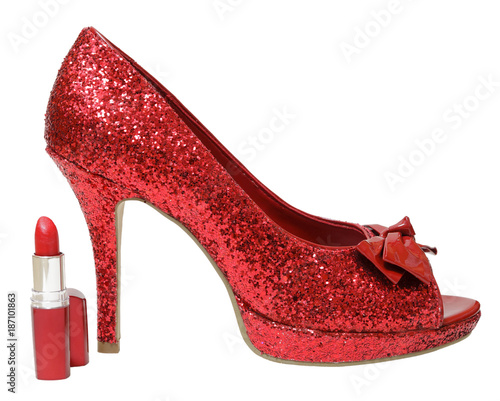 Valokuvatapetti Red glitter high heels and lipstick isolated on white background