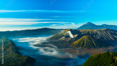 Aluminium Prints Blue Mount Bromo volcano during sunrise, the magnificent view of Mt. Bromo located in Bromo Tengger Semeru National Park, East Java, Indonesia.